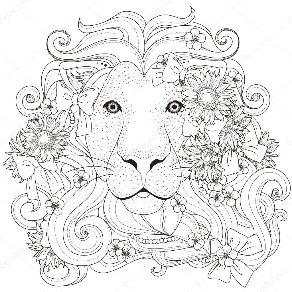 Belle page à colorier lion 40