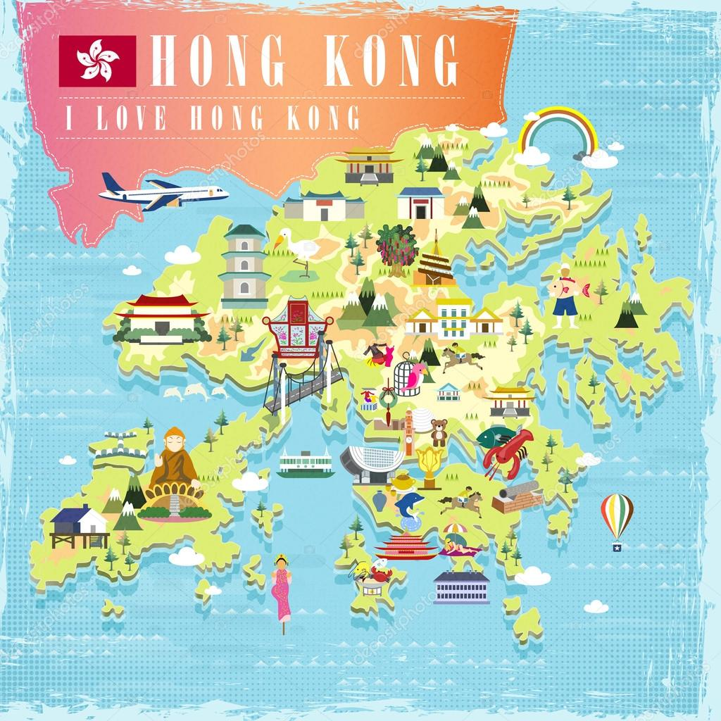 Hong Kong Travel Map Stock Vector C Kchungtw 88023058