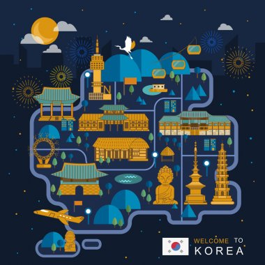 South Korea night travel map
