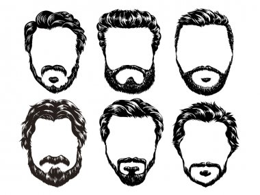 Hand drawn hipster fashion men hair and beards set stock vector