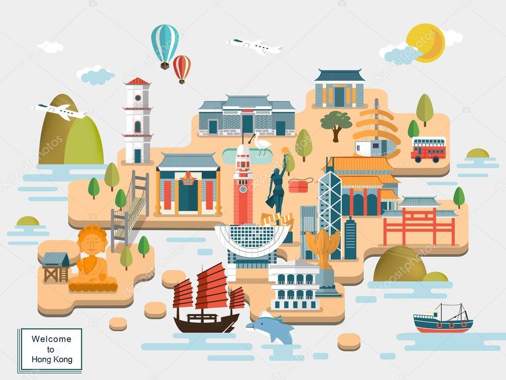 Cartina Hong Kong.Hong Kong Travel Map Vector Image By C Kchungtw Vector Stock 90245896