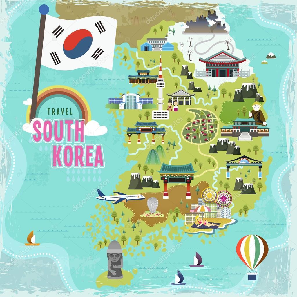 Südkorea Karte.Südkorea Reise Karte Stockvektor Kchungtw 90246486