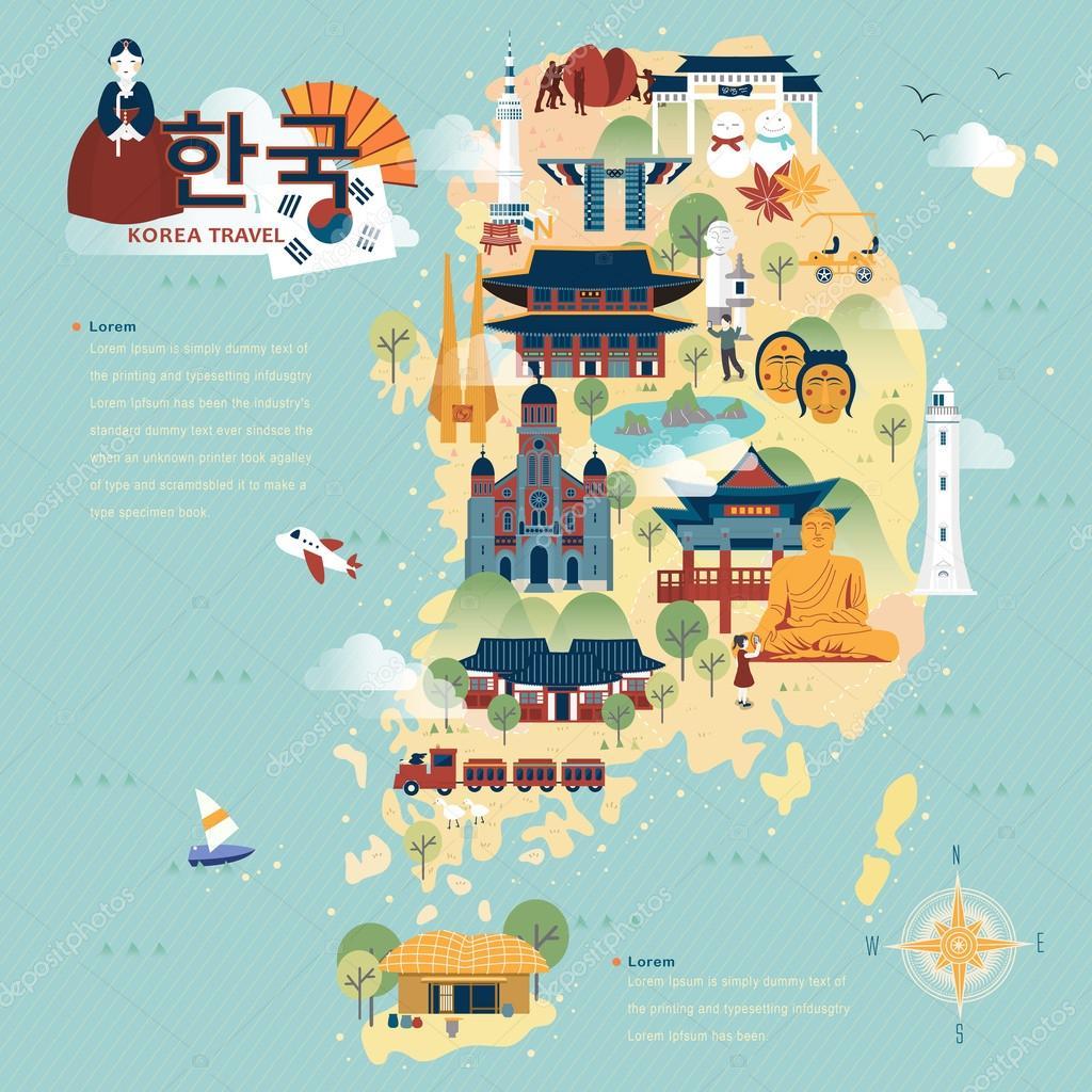 South Korea Travel Map Stock Vector Kchungtw - Korean map