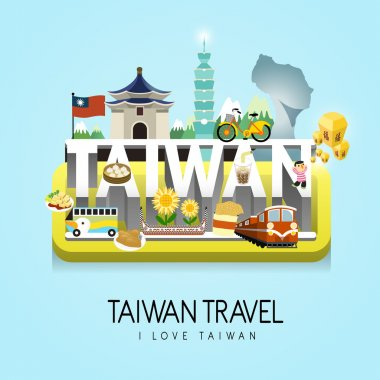Taiwan travel concept poster - blessing word in chinese on the sky lantern stock vector