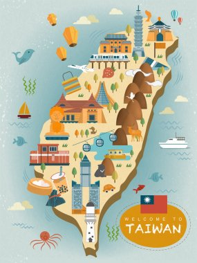 lovely Taiwan travel map