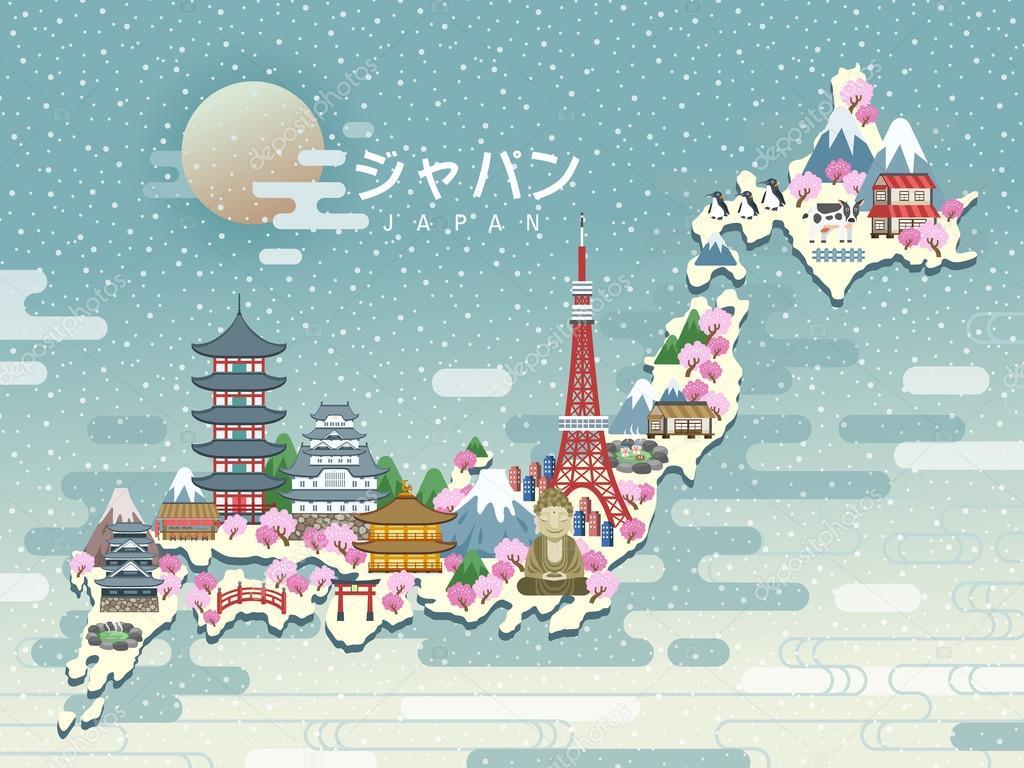 Lovely Japan Travel Map Stock Vector