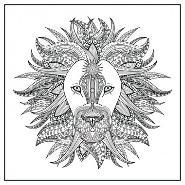 imposing lion coloring page