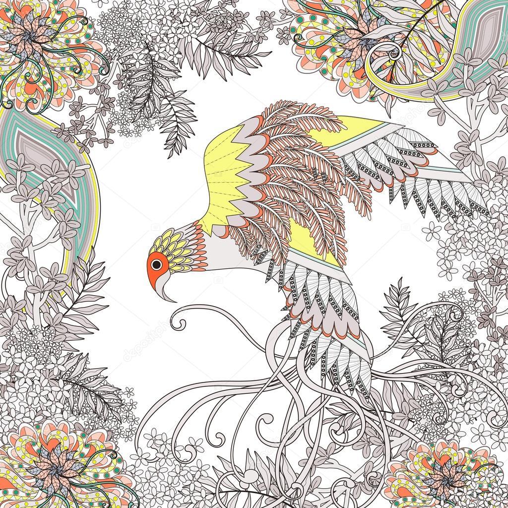Güzel Uçan Kuş Boyama Sayfası Stok Vektör Kchungtw 95580874