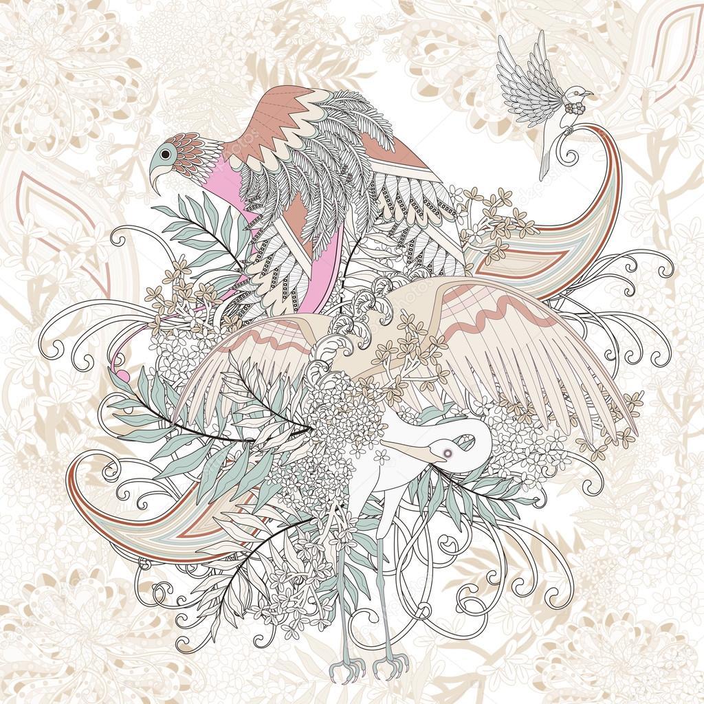 Güzel Uçan Kuş Boyama Sayfası Stok Vektör Kchungtw 95580894