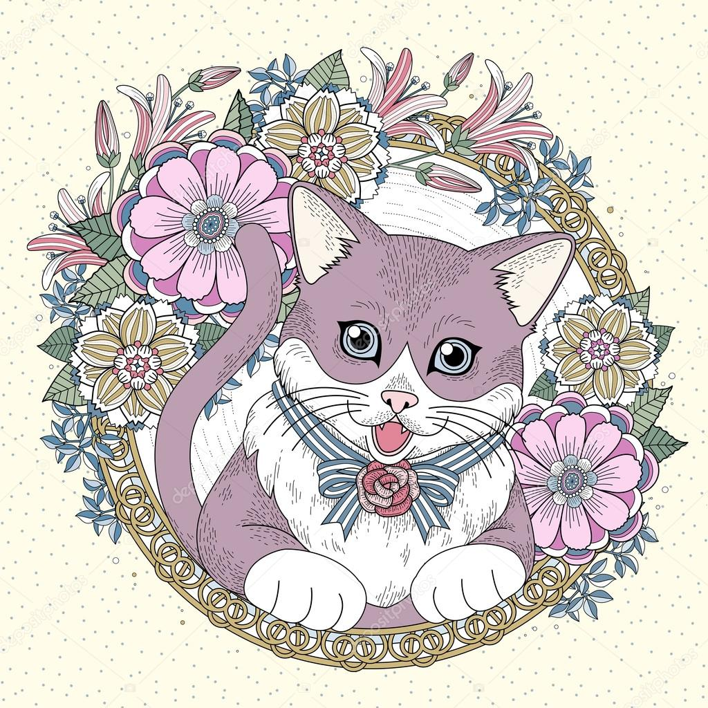 Adorable Kitty Coloring Page With Floral Wreath In Exquisite Line Vector By Kchungtw