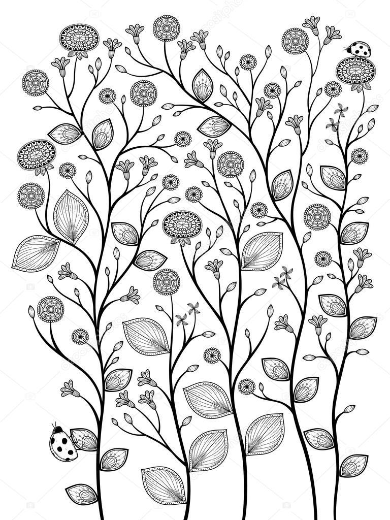 Coloriage En Ligne Printemps.Plantes De Printemps Coloriage Image Vectorielle Kchungtw C 95581022