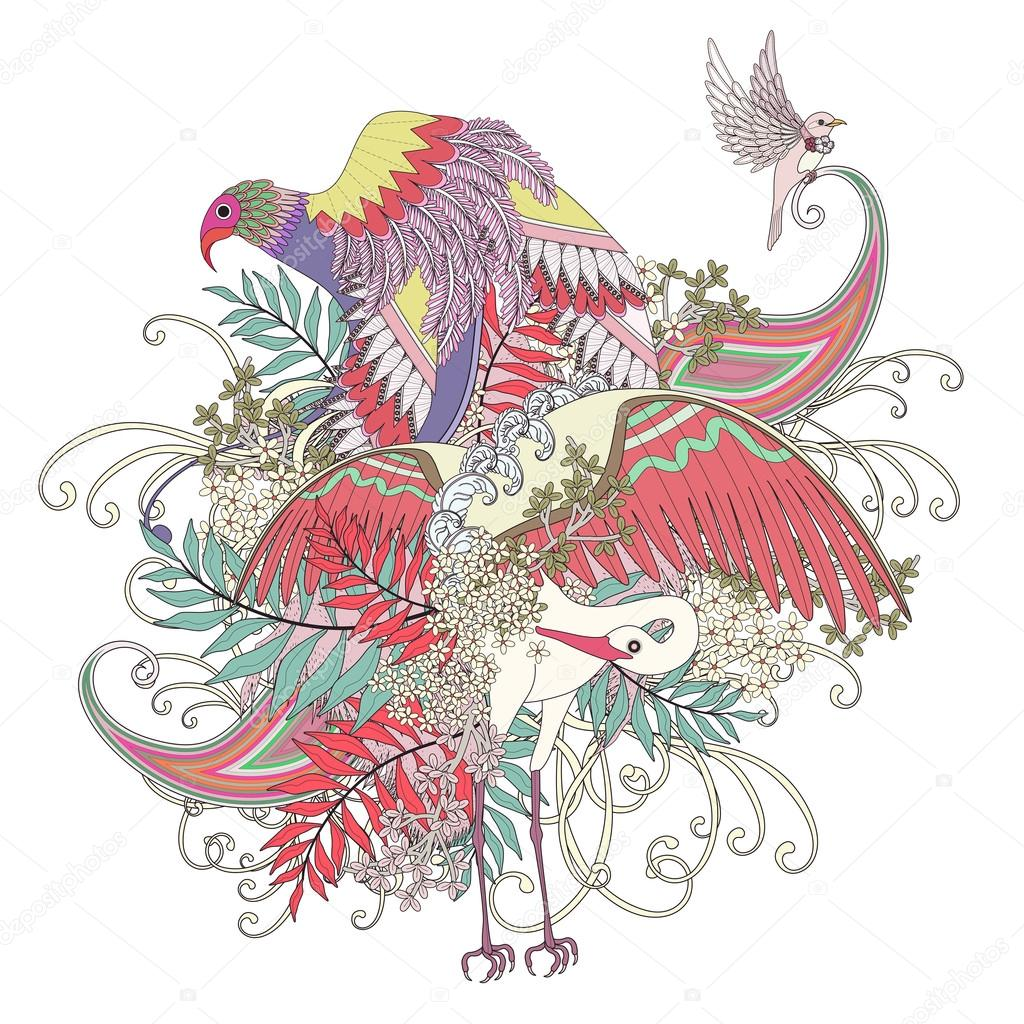 Güzel Uçan Kuş Boyama Sayfası Stok Vektör Kchungtw 95581172
