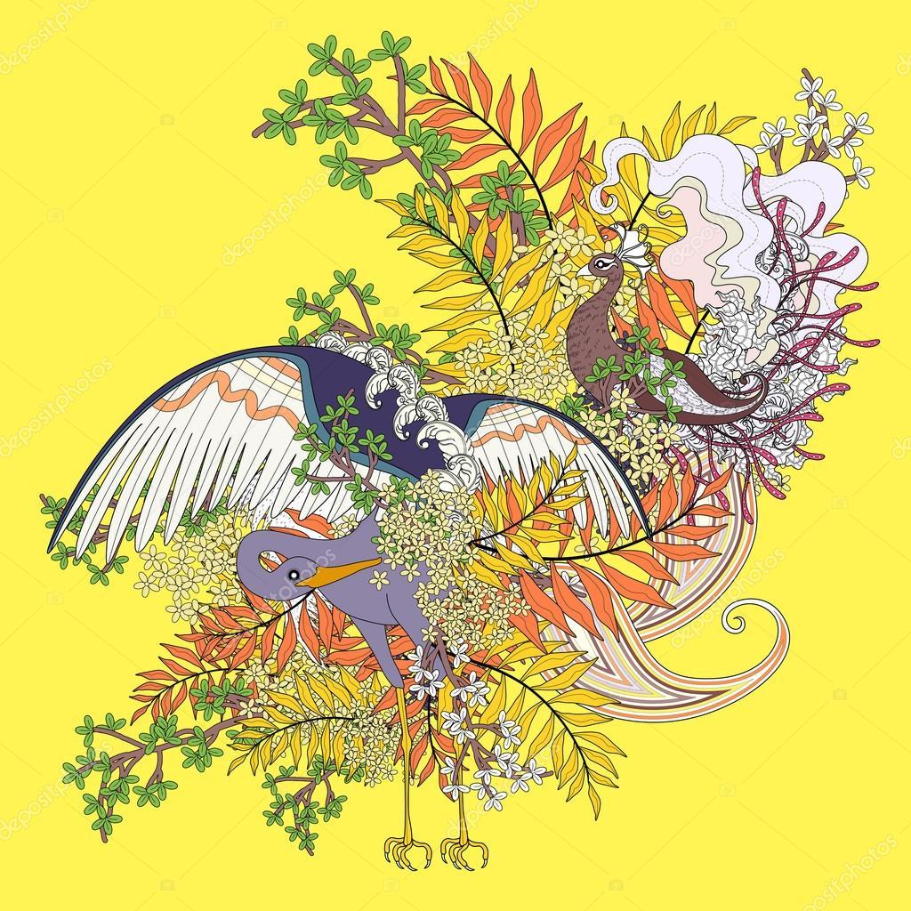 Güzel Uçan Kuş Boyama Sayfası Stok Vektör Kchungtw 95581276
