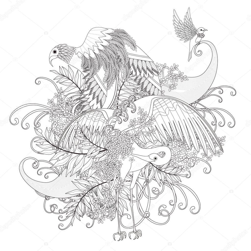 Güzel Uçan Kuş Boyama Sayfası Stok Vektör Kchungtw 95581358