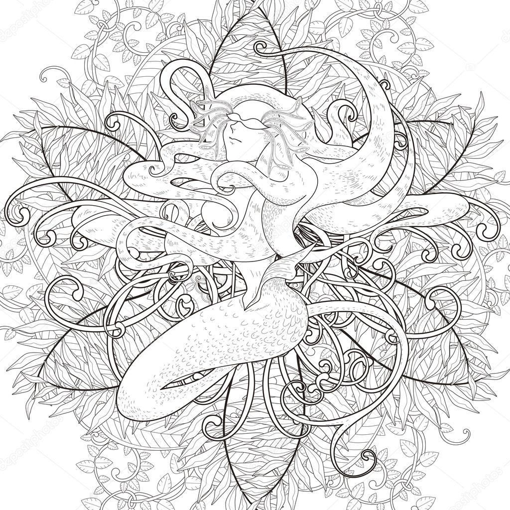çekici Deniz Kızı Boyama Sayfası Stok Vektör Kchungtw 95581434