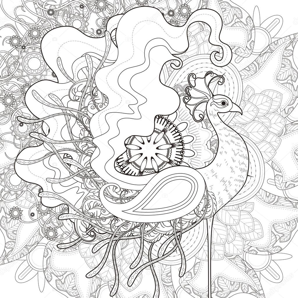 Attractive Peacock Coloring Page Stock Vector C Kchungtw 95581450