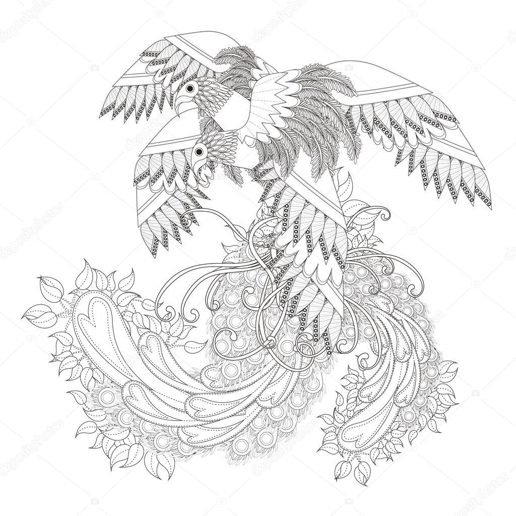 Beautiful Flying Bird Coloring Page Stock Vector C Kchungtw