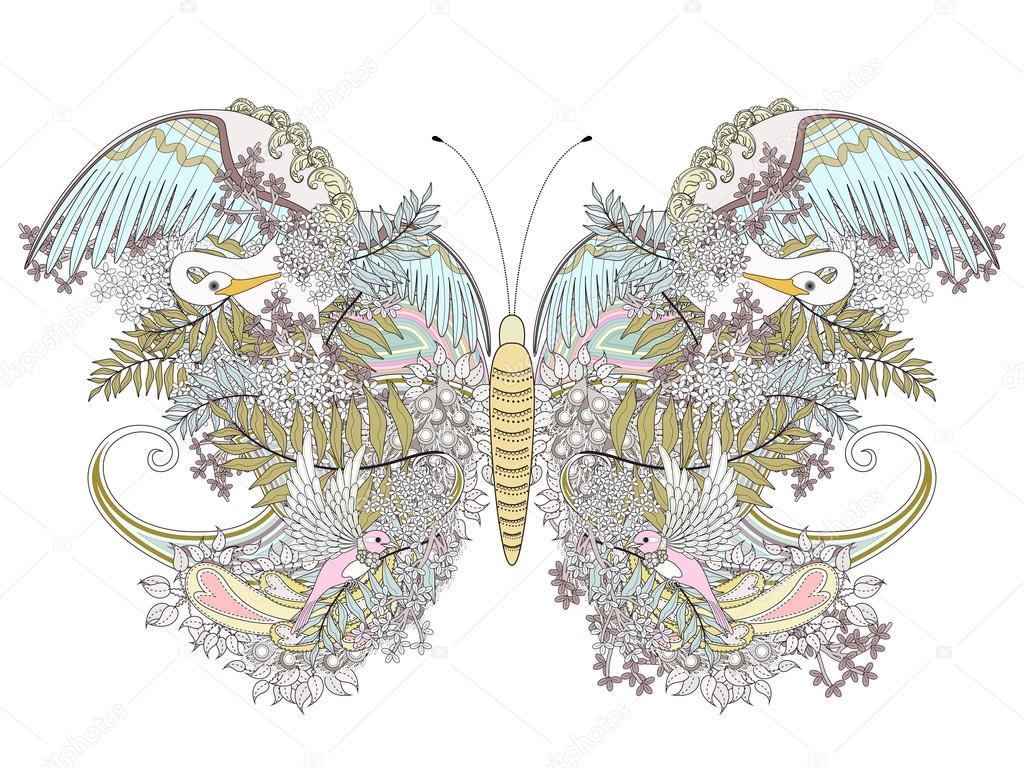 Página para colorear de mariposa creativa — Vector de stock ...