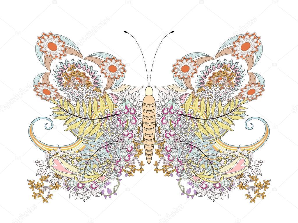 Página para colorear de mariposa creativa — Archivo Imágenes ...