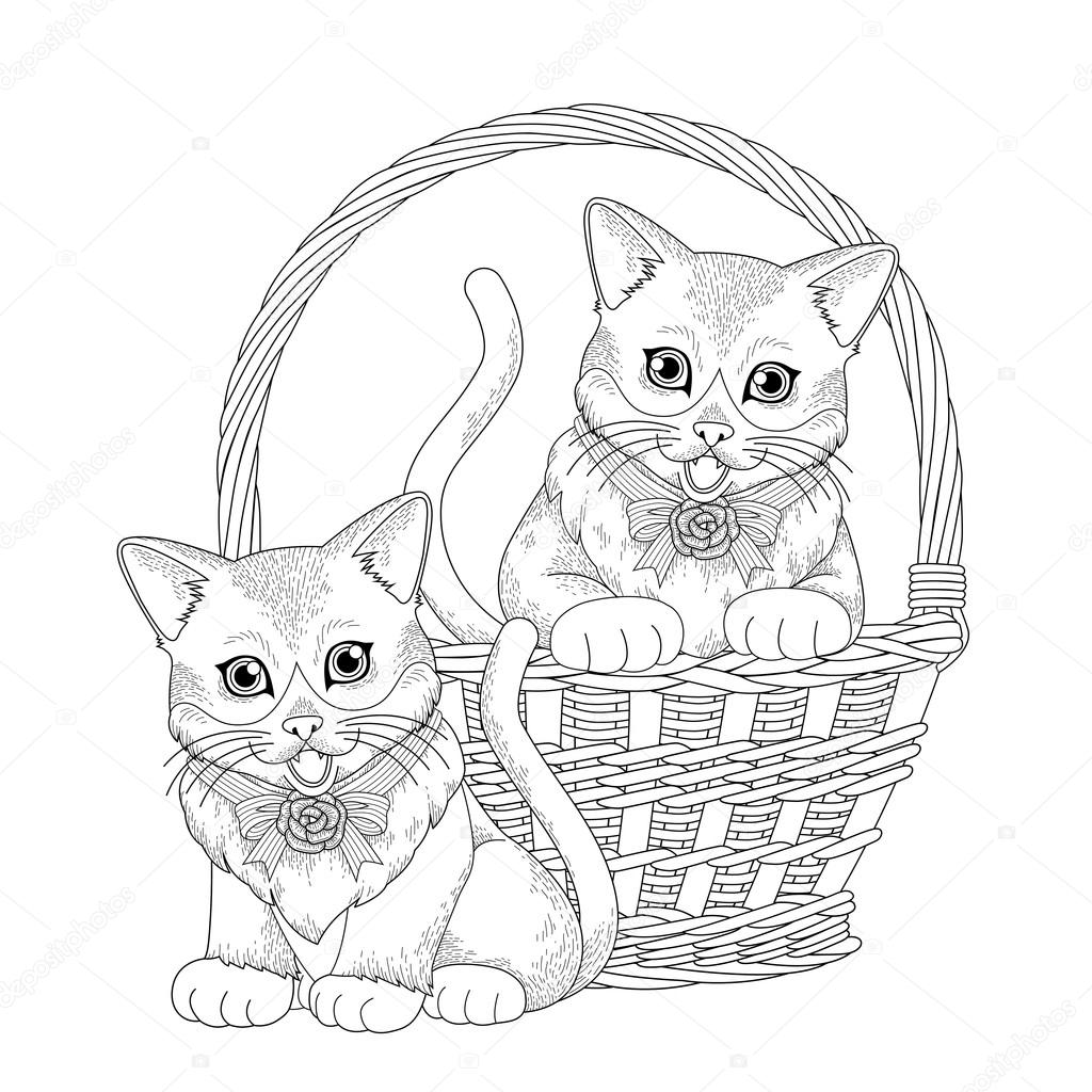 Adorable Kitty Coloring Page Stock Illustration