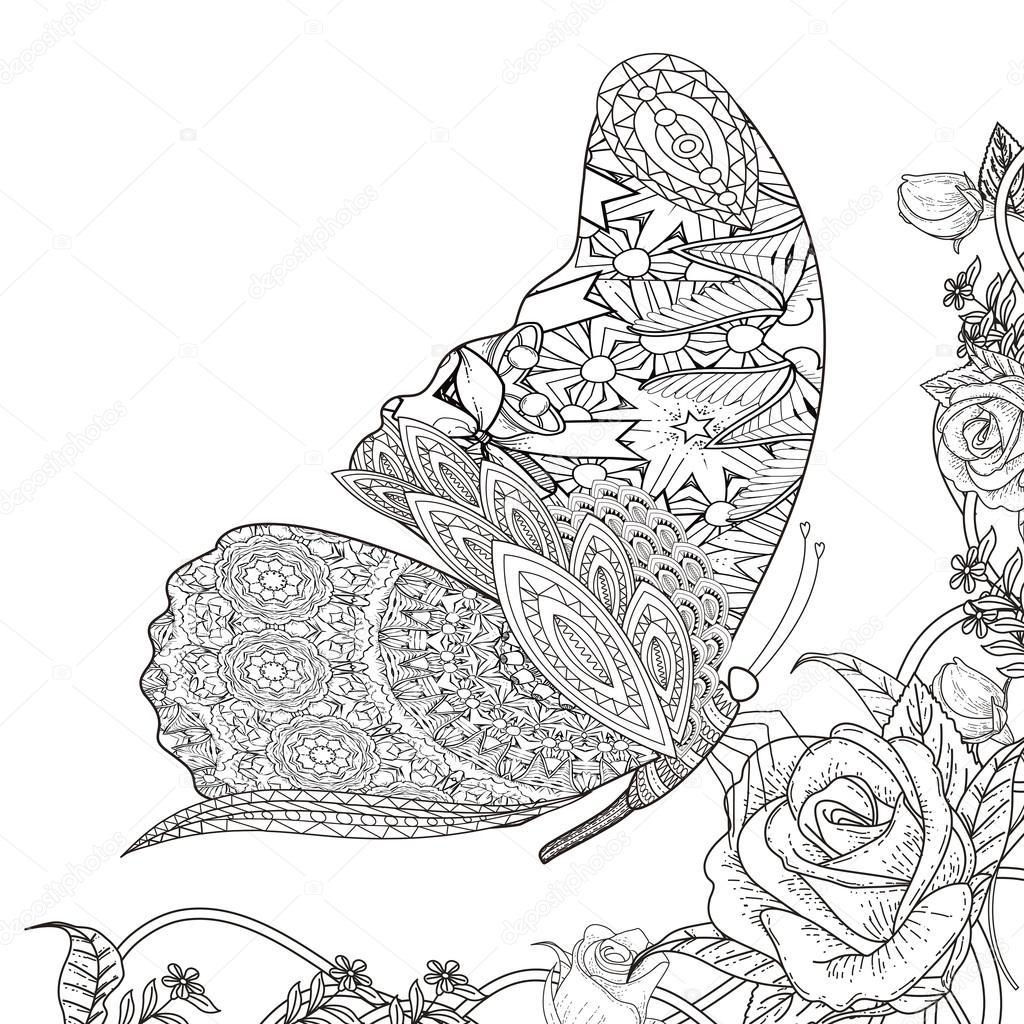 Página para colorear de mariposa — Archivo Imágenes Vectoriales ...