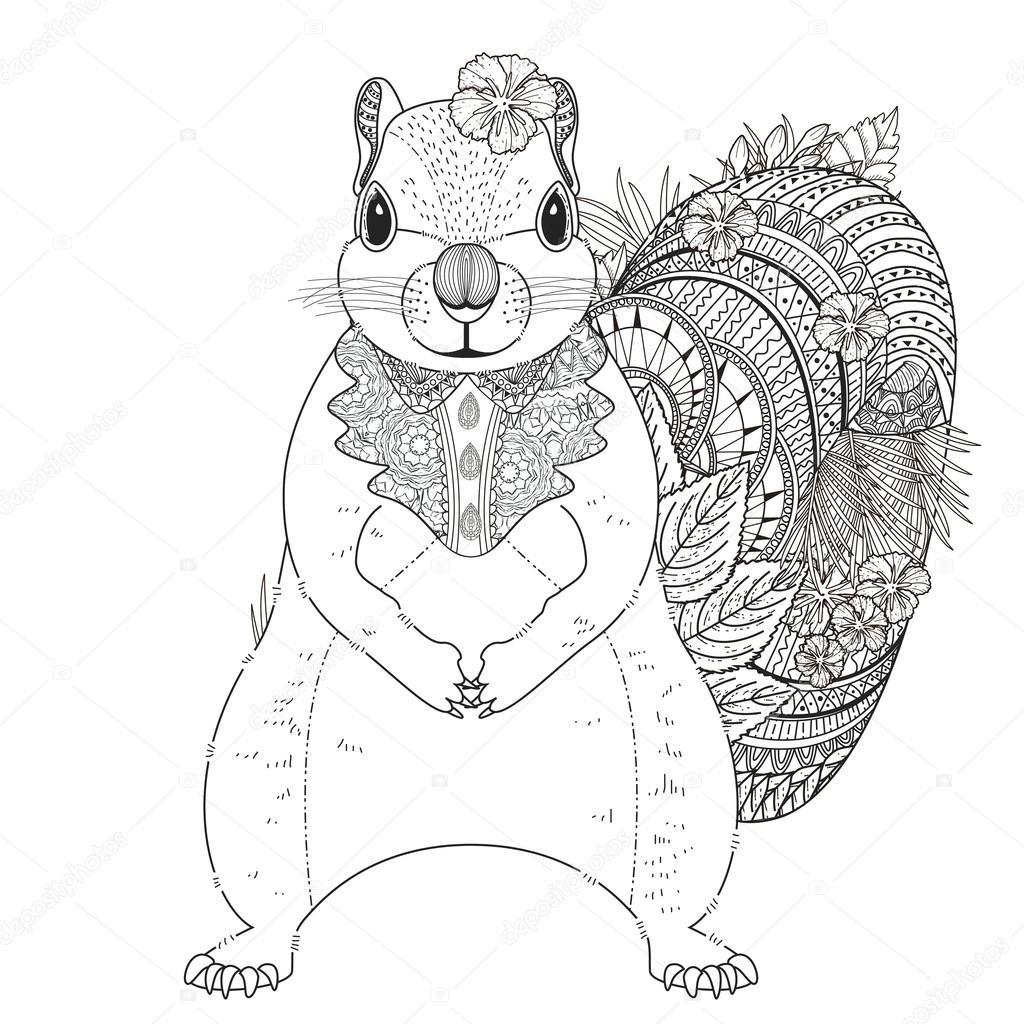 adorable squirrel coloring page — Stock Vector © kchungtw #95581840
