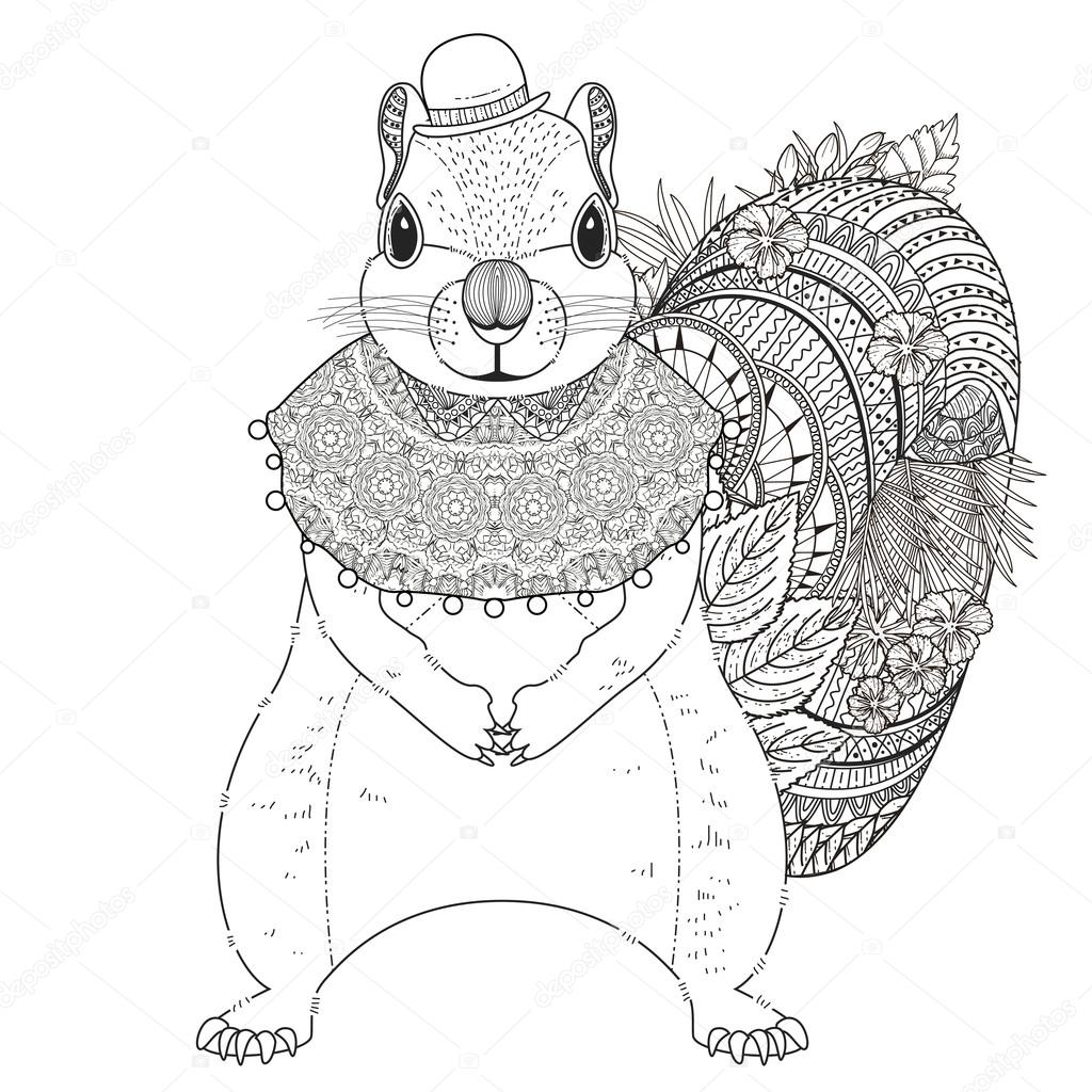 adorable squirrel coloring page — Stock Vector © kchungtw #95581862