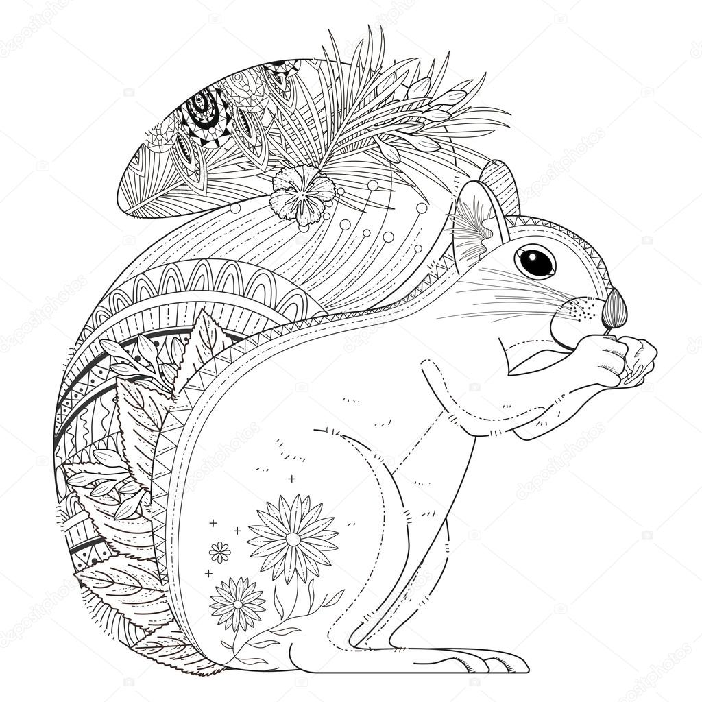 adorable squirrel coloring page — Stock Vector © kchungtw #95581894