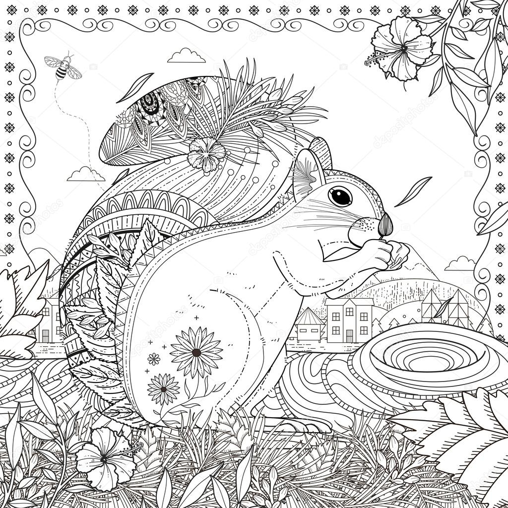 Adorable Squirrel Coloring Page Vector Image By C Kchungtw Vector Stock 95581928