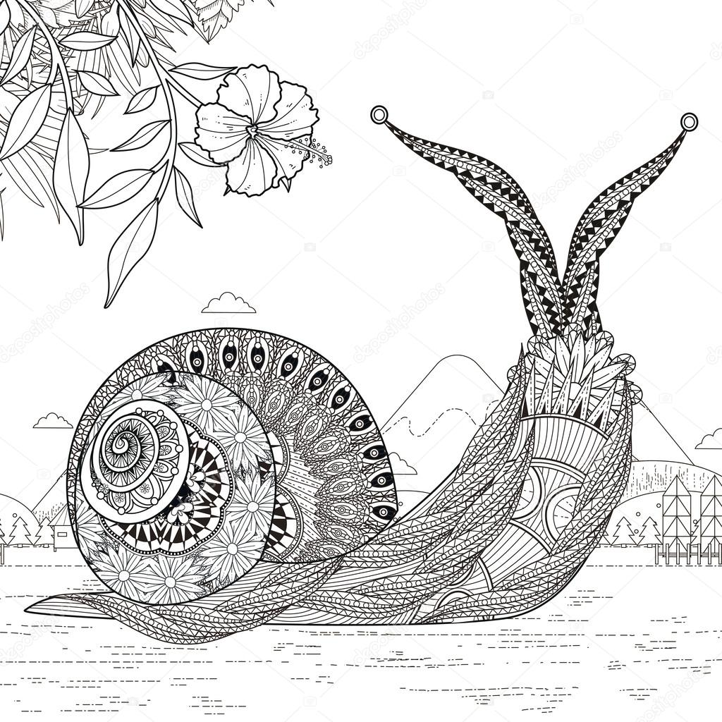elegant snail coloring page — Stock Vector © kchungtw #95582084