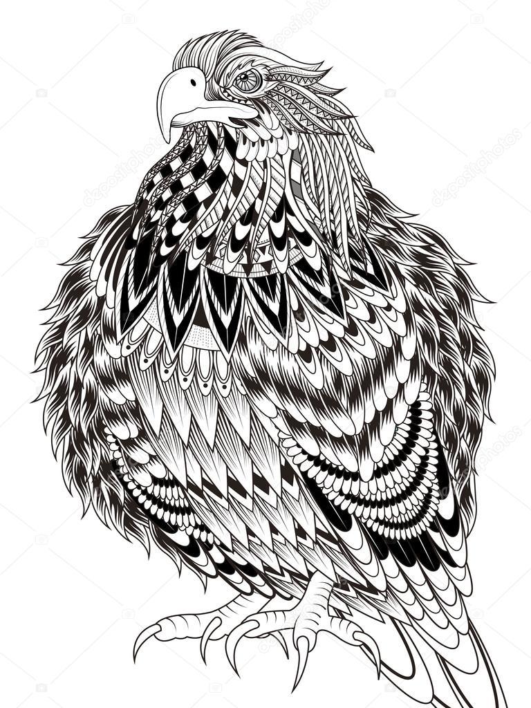 imponente águila página para colorear — Archivo Imágenes Vectoriales ...