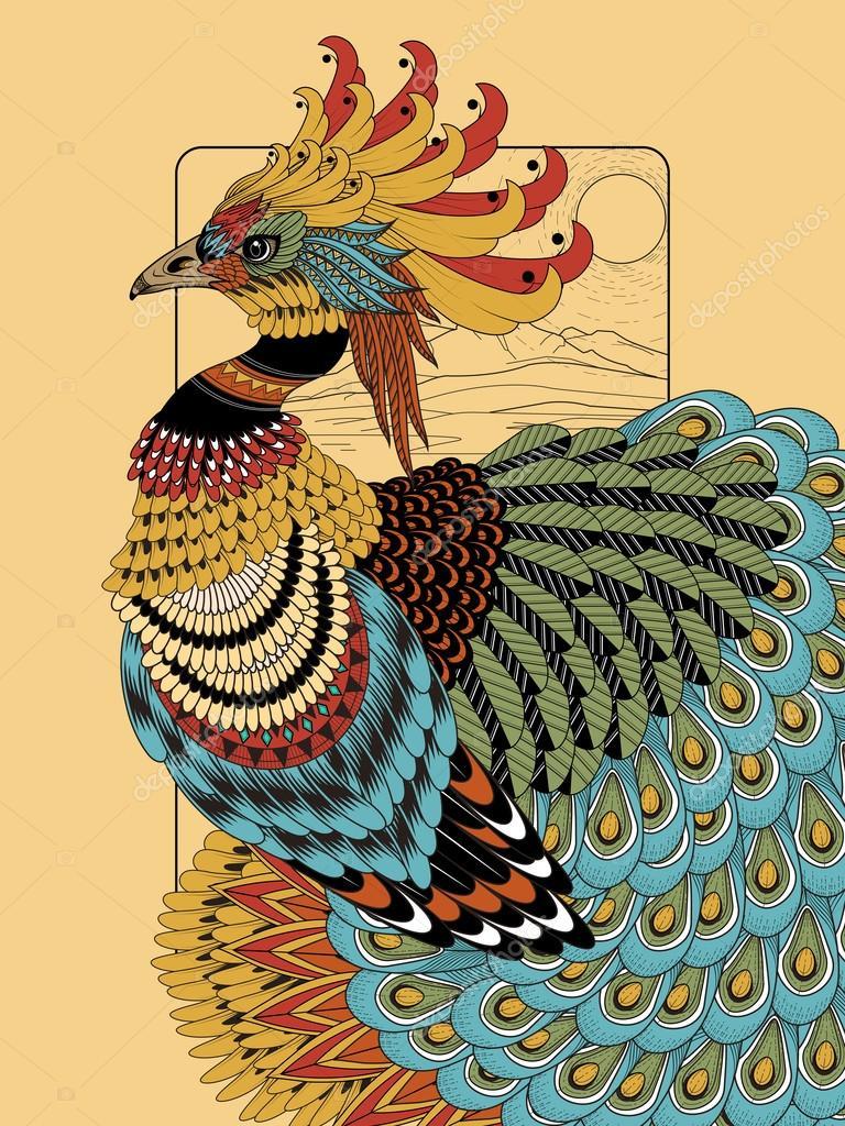 Görkemli Tavus Kuşu Boyama Sayfası Stok Vektör Kchungtw 95582294