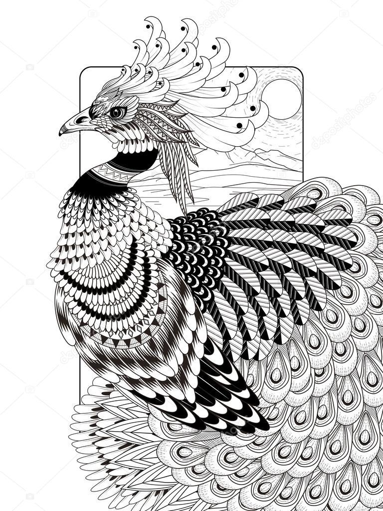 Görkemli Tavus Kuşu Boyama Sayfası Stok Vektör Kchungtw 95582322