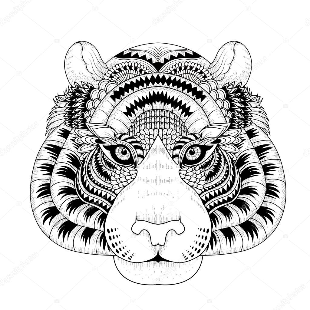 Coloriage de tete de tigre - Mandalas de tigres ...