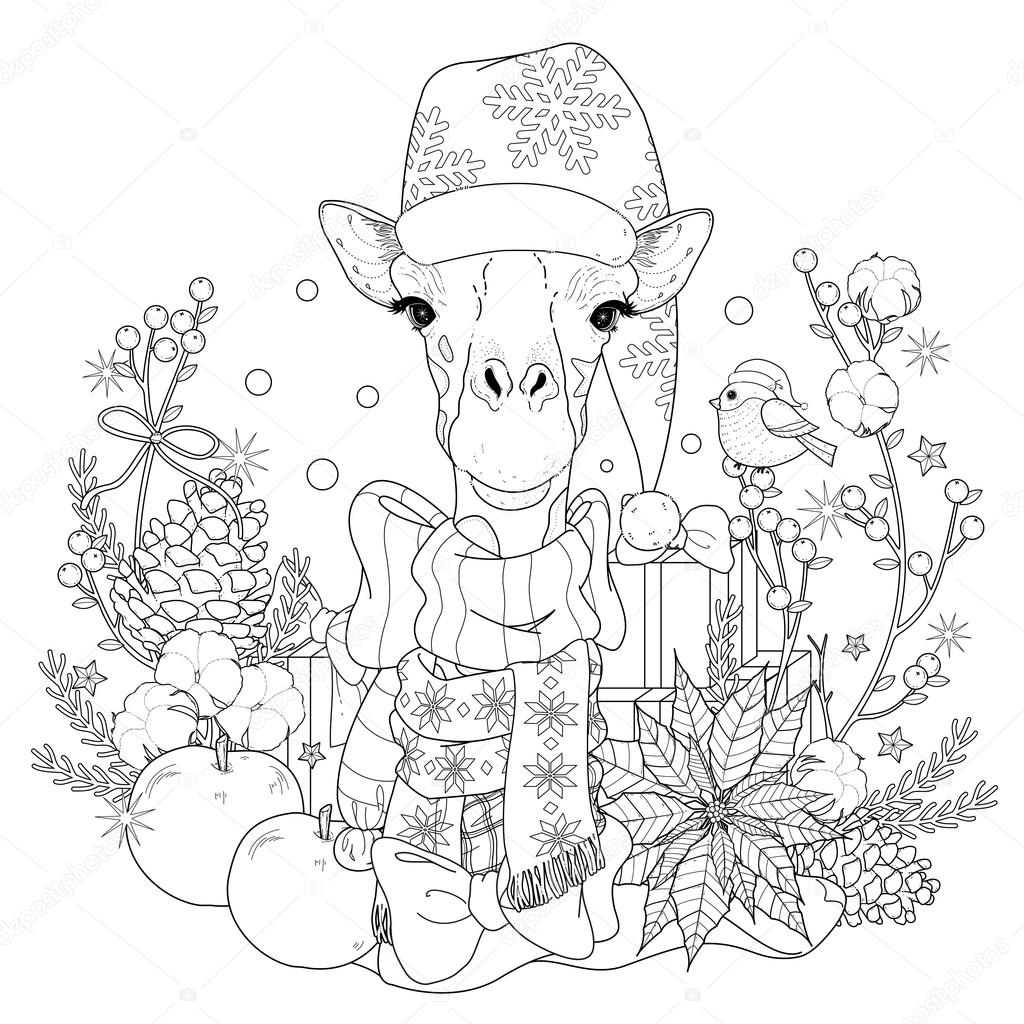 Página para colorear de Navidad jirafa — Archivo Imágenes ...