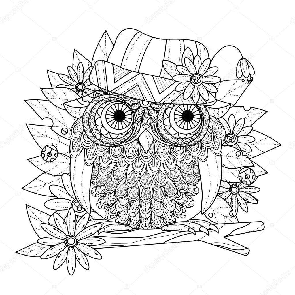 Güzel Baykuş Boyama Sayfası Stok Vektör Kchungtw 95582584