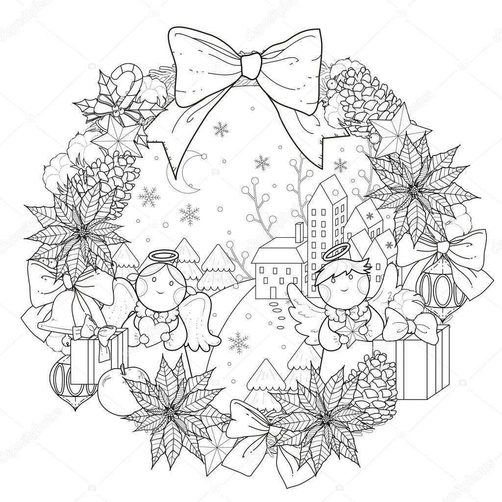 クリスマス リースのぬりえ ストックベクター Kchungtw 95582610