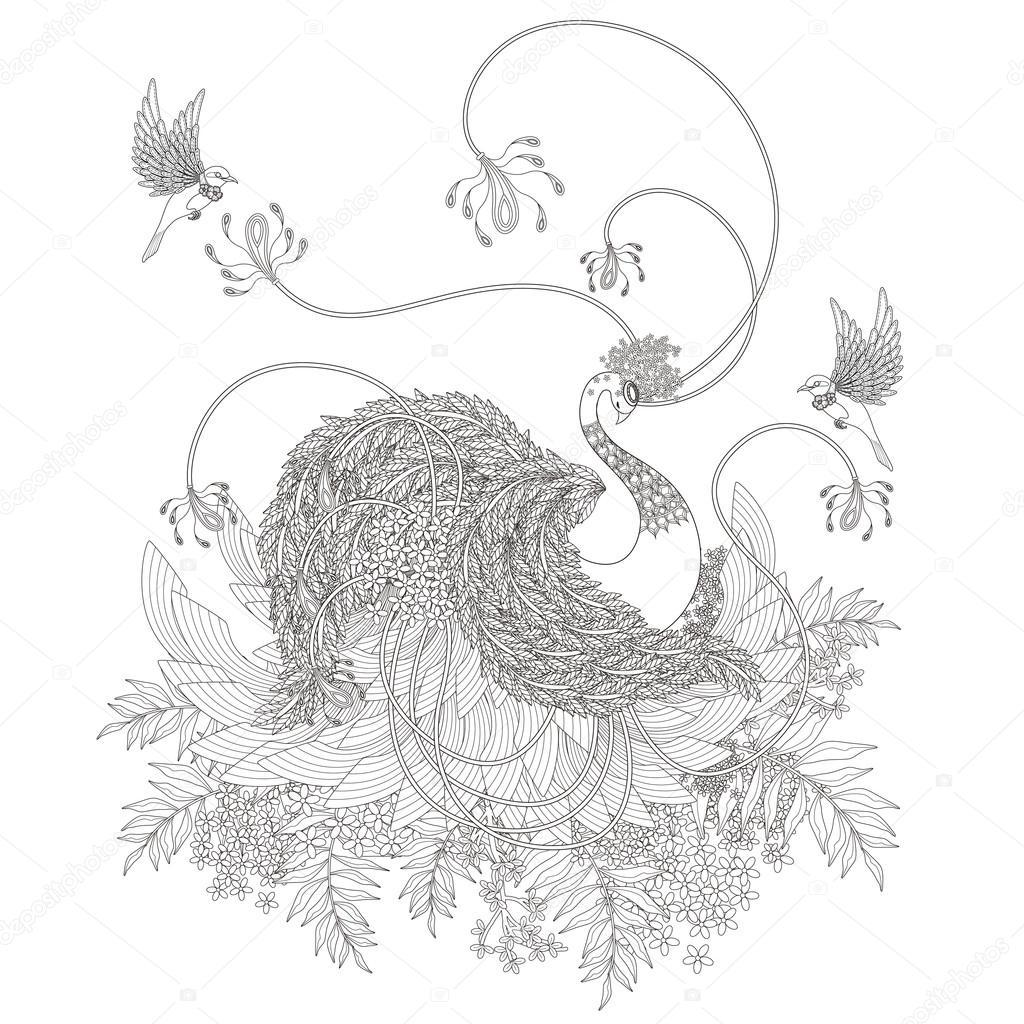 Zarif Kuğu Boyama Sayfası Stok Vektör Kchungtw 97075760