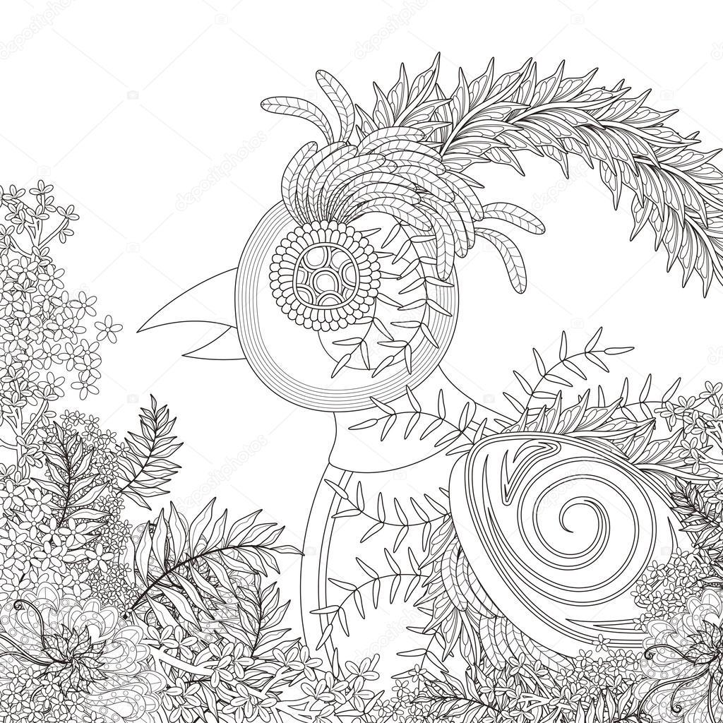 Página para colorear de aves divertidas — Archivo Imágenes ...