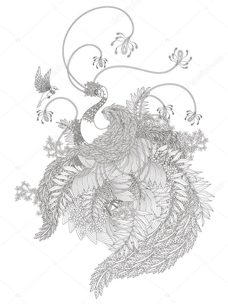 Zarif Kuğu Boyama Sayfası Stok Vektör Kchungtw 97078644