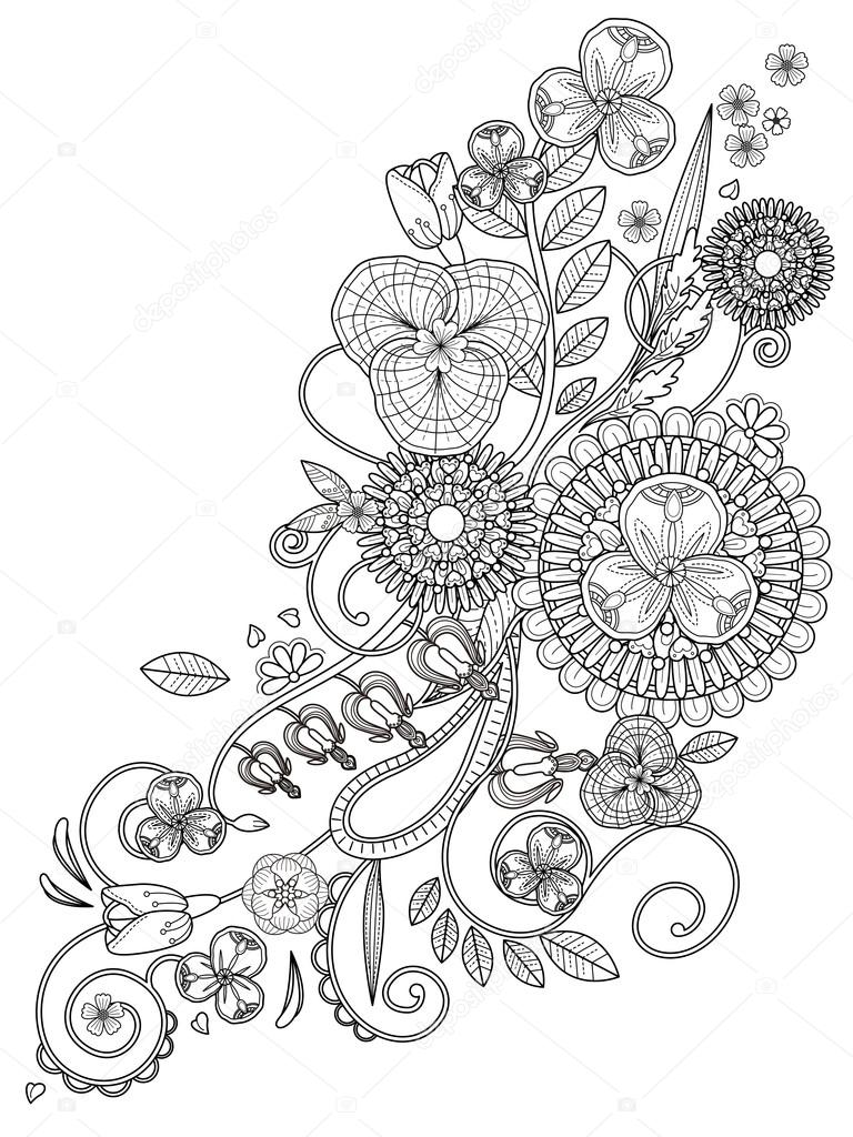 romantic floral coloring page stock vector 97922884