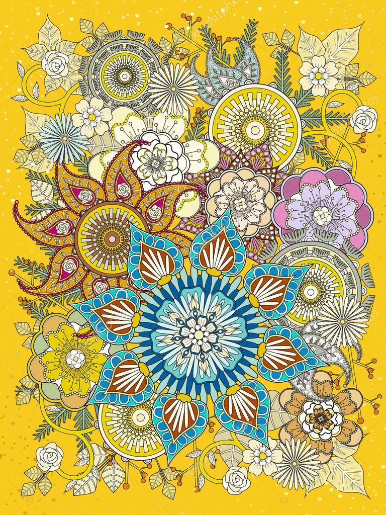 Renkli çiçek Boyama Sayfası Stok Vektör Kchungtw 97922986