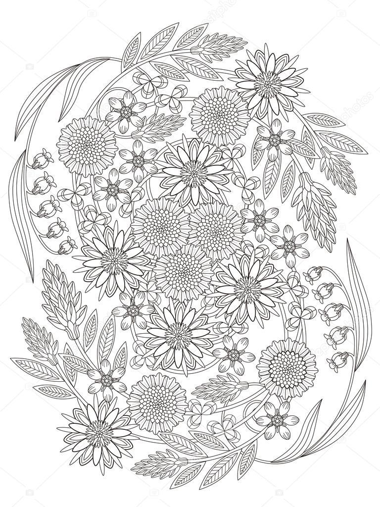 Página para colorear de flores hermosas — Vector de stock © kchungtw ...