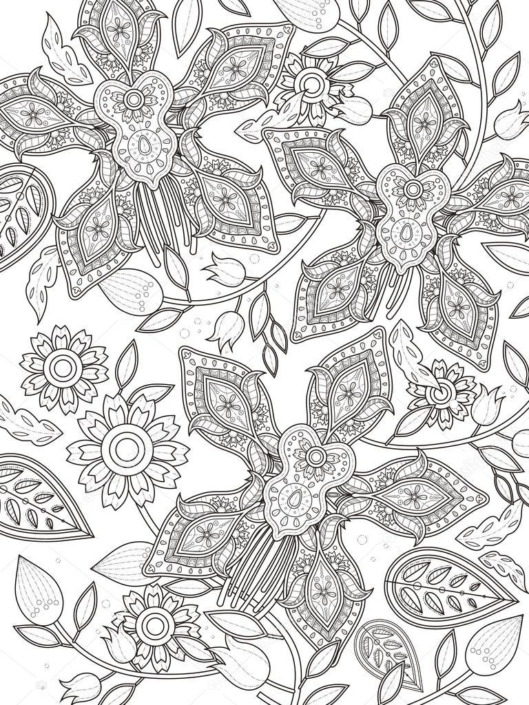 Página para colorear orquídea elegante — Archivo Imágenes ...