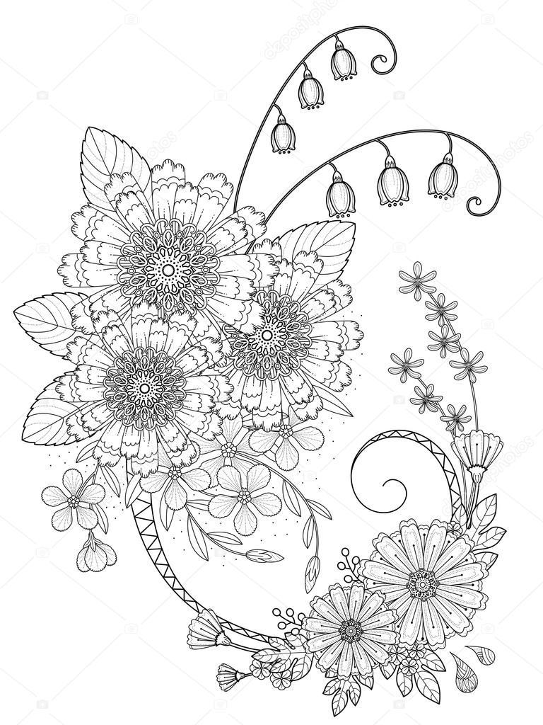 Romantische Bloemen Kleurplaat Stockvector C Kchungtw 97923876