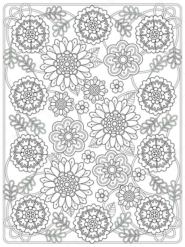 Kleurplaten Van Mooie Bloemen.Mooie Bloemen Kleurplaat Stockvector C Kchungtw 97923988