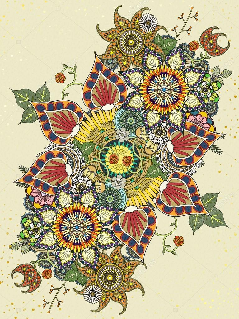 Renkli çiçek Boyama Sayfası Stok Vektör Kchungtw 97925694
