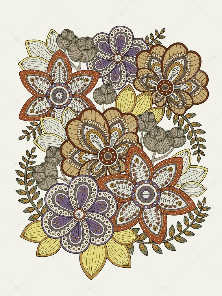 раскраска для взрослых волшебные цветы элегантный цветок