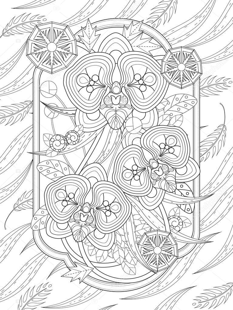 Orchidee Bloemen Kleurplaat Stockvector C Kchungtw 97926898