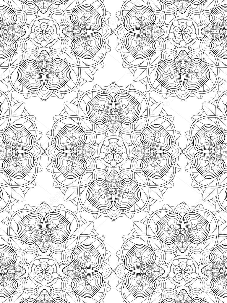 Orkide çiçek Boyama Sayfası Stok Vektör Kchungtw 97927234